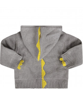Grey cardigan for baby girl with yellow spikes