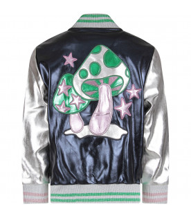 Lilac and silver girl bomber jacket with black stars