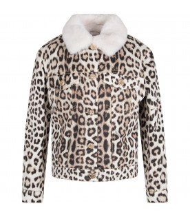Animalier girl jacket with branded button