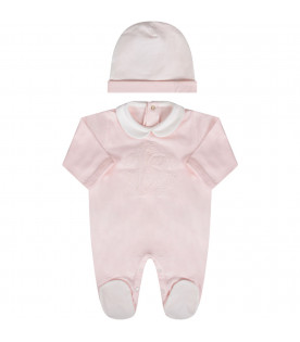 Pink and white babygirl set with iconic logo