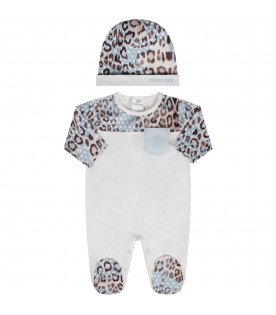 White babyboy set with animalier print