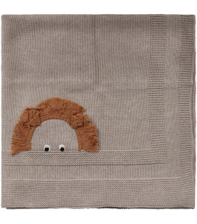 Grey babykids blanket with hedgehogs