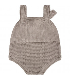 Grey babykids rompers with hedgehogs