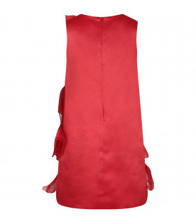 Red girl dress with metallic lgoo