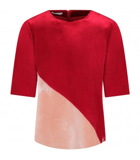 Red and pink girl blouse with gold metallic logo