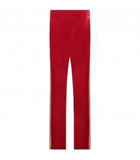 Red girl pants wih pink stripes