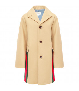 Camel coat with red and green detail Web