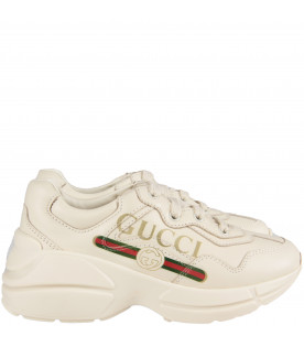 Ivory kids chuncky sneaker with logo