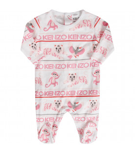 White and pink babygirl set with pink logo