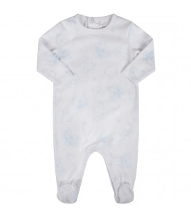 White babygirl suit with light blue iconic tigers