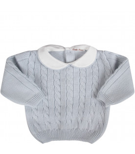 Light blue babyboy suit with cable knit