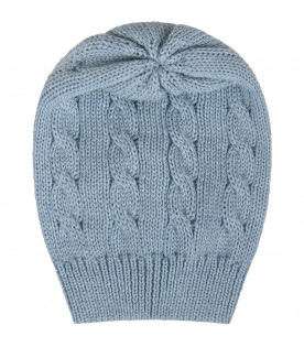 Light blue babyboy hat with cable knit