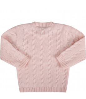 Pink babygirl sweater with cable-knit