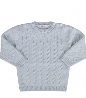 Light blue babyboy sweater with cable-knit