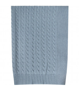 Light blue babyboy blanket withcable knit