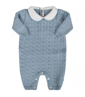 Light blue  babyboy babygrow with cable knit