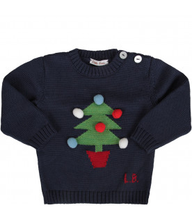 Blue baby boy sweater with Christams tree