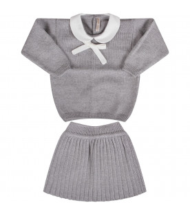Grey baby girl pleated skirt