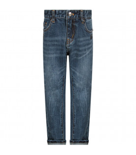 Denim blue boy jeans with black logo