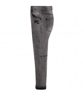 Grey boy jeans with black iconic patch