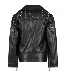 Black girl jacket with studs