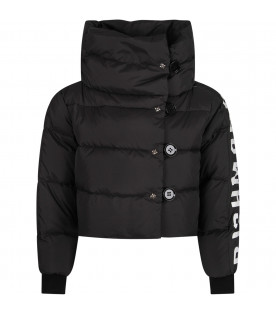Black girl jacket with white logo
