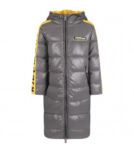 Grey and yellow boy jacket with black logo