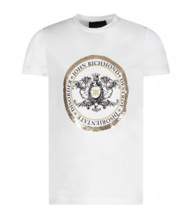 White girl T-shirt with logo and sequins