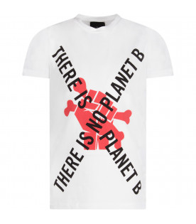White boy T-shirt with black writing and red print