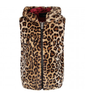 Animalier print girl vest with red logo