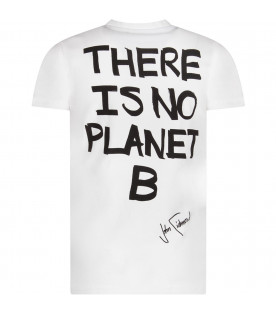 White boy T-shirt with black writing and logo