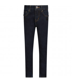 Denim dark blue boy jeans with light blue logo