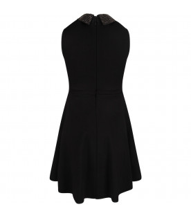 Black girl dress with studded logo