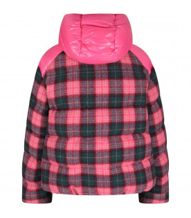 Fucshia girl bomber jacket with iconic patch