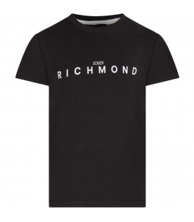 Black boy T-shirt with black writing and logo