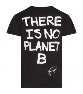 Black boy T-shirt with white writing and logo
