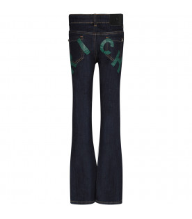 Denim dark blue girl jeans with green logo