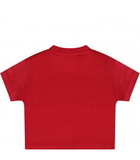 Red T-shirt with white logo for babygirl
