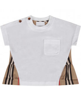 White babygirl T-shirt with iconic stripes