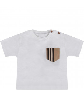 White babykids T-shirt with iconic stripes