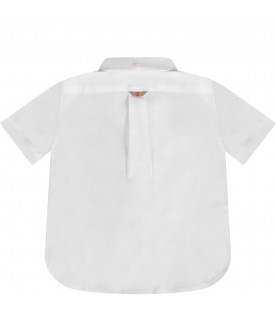 White babyboy shirt with check details
