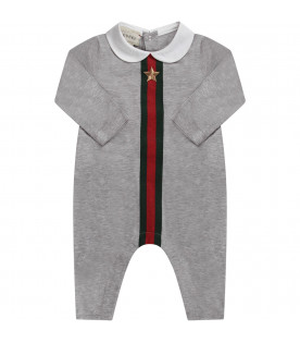Grey babyboy set with red and green Web details