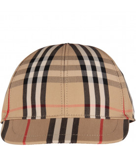 Beige kids hat with iconic check and stripes