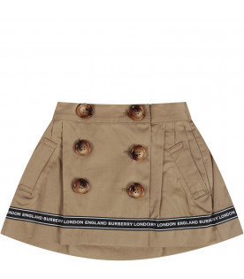 Beige babygirl skirt with white logo