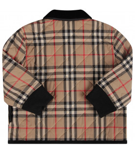 Beige babyboy jacket with iconic check