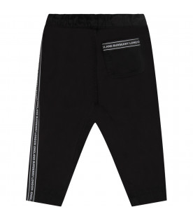 Black babyboy pants with wwhite logo