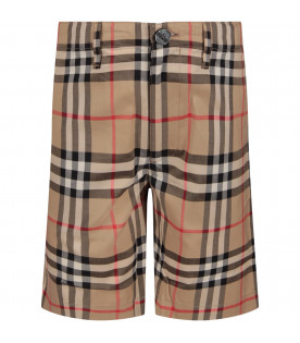 Beige boy short with iconic vintage check