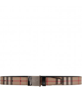 Beige kids belt with vintage check