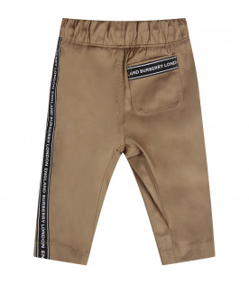 Beige babyboy pants with wwhite logo