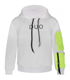 White boy sweatshirt with black logo